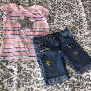 {TOTAL GIRL} Denim Shorts & {361 KIDS} Top